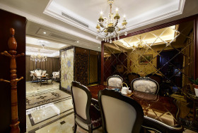 褐色新古典风格餐厅背景墙设计图