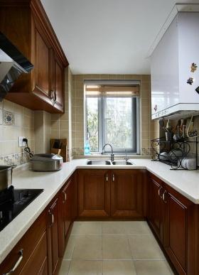 美式风格褐色厨房橱柜效果图欣赏
