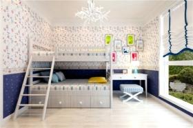 蓝白色混搭风格儿童房效果图
