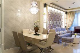 米色欧式风格餐厅背景墙装修效果图片