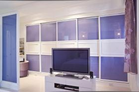 蓝色简约风格背景墙设计装潢