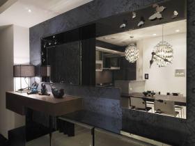 黑色现代风格餐厅隔断装潢设计