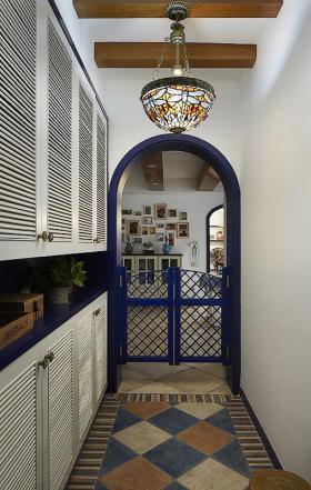 蓝色地中海风格玄关鞋柜效果图