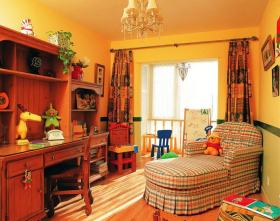 橙色美式风格儿童书房美图赏析