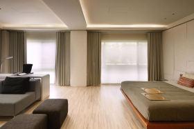 绿色现代风格卧室窗帘欣赏