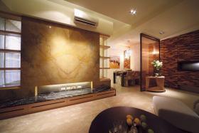 橙色现代风格客厅电视背景墙装修布置