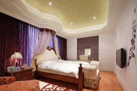 红色新中式风格卧室效果图赏析