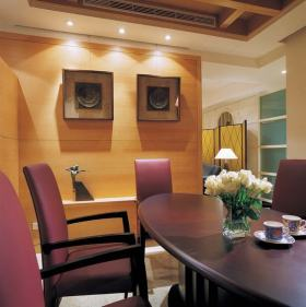 紫色简欧风格温馨浪漫餐厅装潢装饰案例