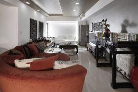 灰色雅致中式风格客厅设计装潢