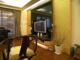 黄色新中式风格客厅背景墙装修图