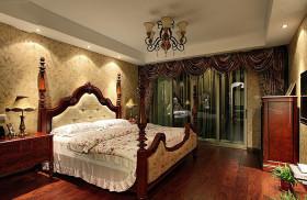 大气沉稳美式风格卧室窗帘效果图