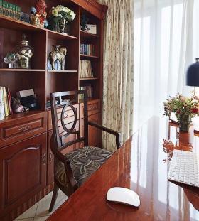 红色中式风格书房效果图设计