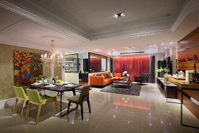 彩色现代风格餐厅客厅装修图