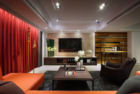 大气创意美式风格红色客厅装潢装修布置