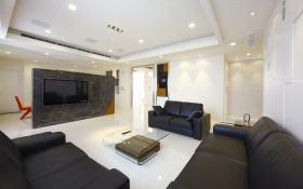 灰色大理石现代客厅电视背景墙效果图