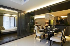 黑色新古典雅致精美餐厅装潢设计