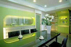 2016时尚绿色现代风格餐厅装修效果图片