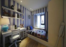 美式风格蓝色儿童房榻榻米设计欣赏