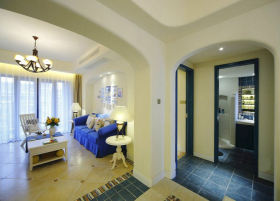蓝色地中海风格客厅垭口装修设计