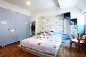蓝色简约风格儿童房衣柜装修设计