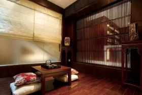 红色中式风格客厅隔断效果图设计