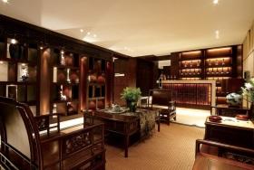 中式风格红色雅致书房图片欣赏