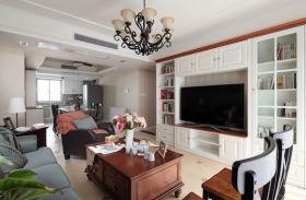白色自然清爽美式风格客厅装潢装修