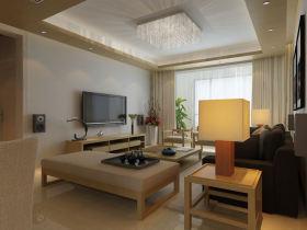 米色日式风格客厅吊顶设计装潢