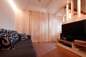 橙色宜家风格客厅木板装饰赏析