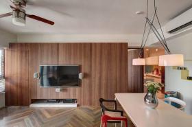 素雅原木现代风格背景墙设计案例