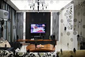 黑色简约风格客厅背景墙效果图欣赏