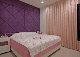 欧式风格紫色卧室背景墙装修案例