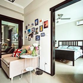 英伦时尚复古混搭风格米色照片墙效果图设计
