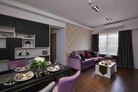 雅致时尚紫色混搭风格餐厅设计图