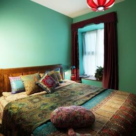 绿色东南亚风格卧室效果图欣赏