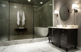 黑色现代风格卫生间装潢案例
