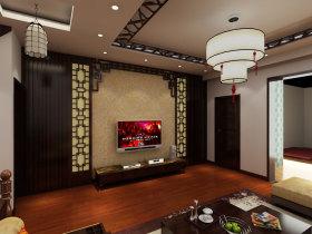 褐色中式风格客厅电视背景墙设计案例