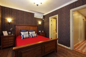 复古温馨美式风格红色卧室美图