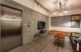 灰色现代风格客厅创意吊灯装修图