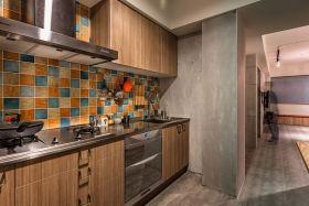 橙色美式风格厨房橱柜装饰图