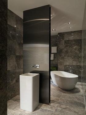 奢华明亮黑色现代风格卫生间设计图片欣赏