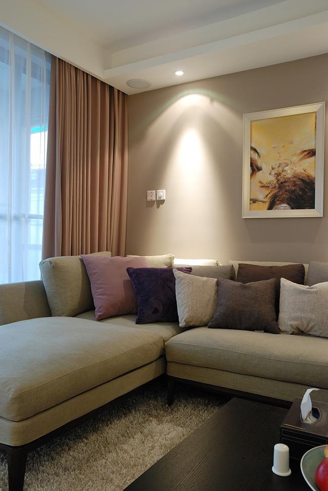 米色温馨舒适简约风格客厅装修图片