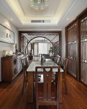 原木色古典中式风格餐厅装饰设计图片