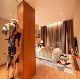 橙色舒适粗狂混搭风格卧室装饰图