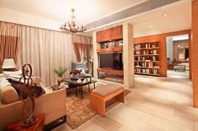 橙色现代风格客厅装饰设计图片