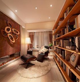 橙色时尚混搭书房设计图片