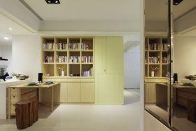 黄色极简书房书柜美图赏析