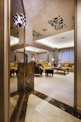橙色欧式风格玄关连客厅装饰设计图片