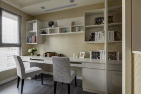 2016时尚灰色现代风格书房设计图片