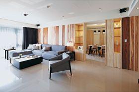 原木色现代风格客厅隔断设计图片